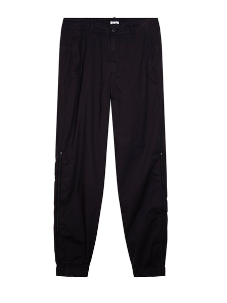 Garment Dyed Stretch Cotton Trouser in Total Eclipse