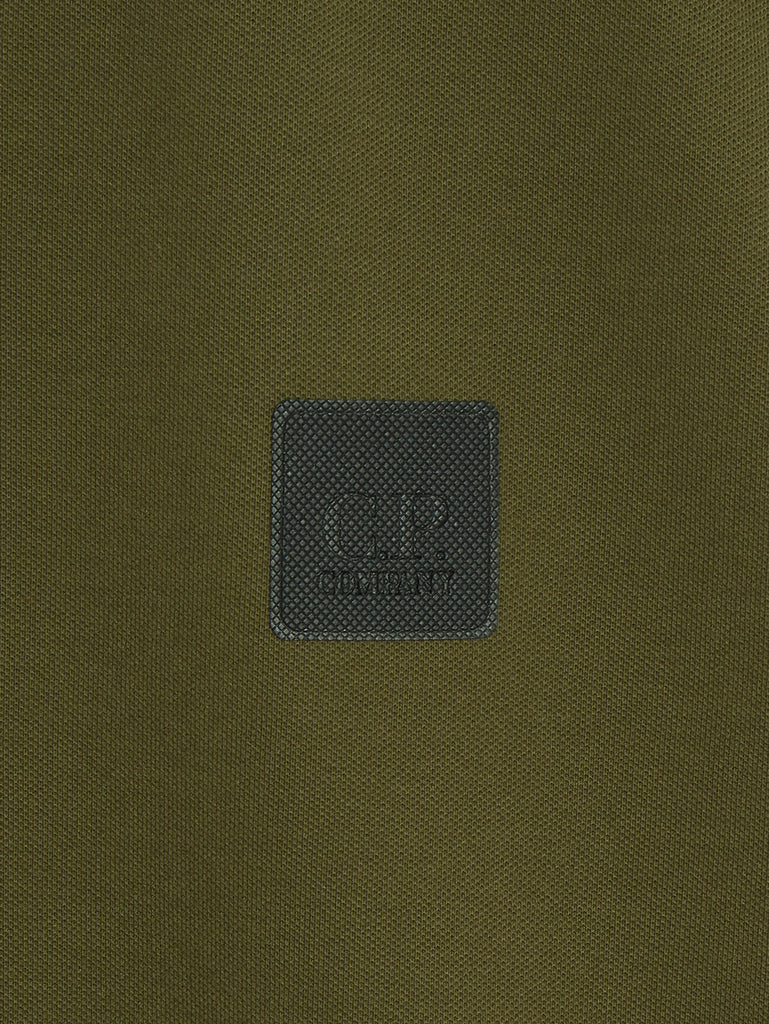 Stretch Pique Logo Badge Polo in Ivy Green