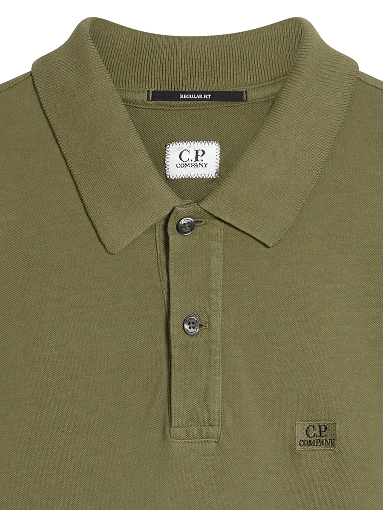 Garment Dyed 24/1 Piquet Long Sleeve Polo in Burnt Olive