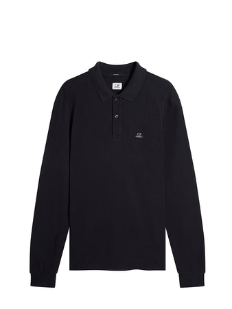 Garment Dyed 24/1 Piquet Long Sleeve Polo in Total Eclipse