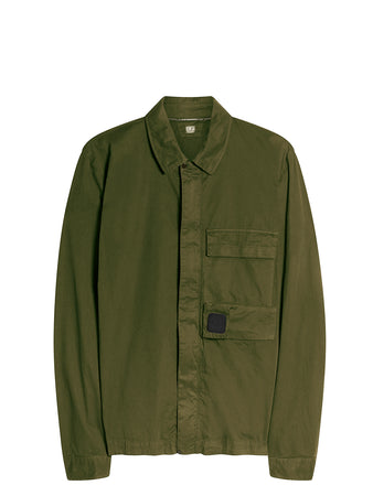 Garment Dyed Emerized Gabardine Zipped Shirt in Ivy Green