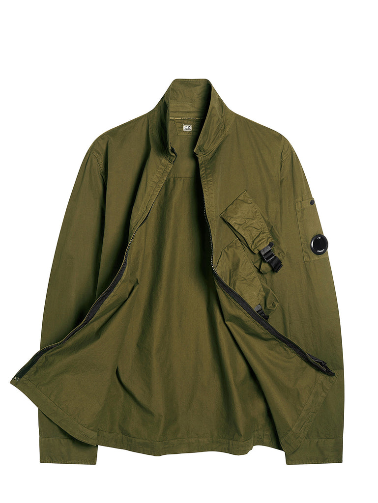 Garment Dyed Emerized Gabardine Zipped Utility Lens Shirt in Ivy Green