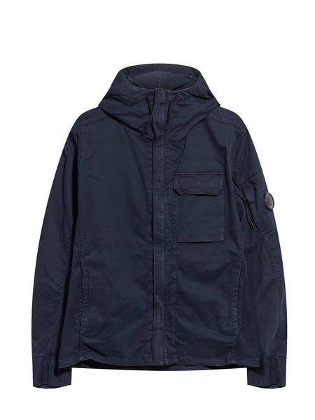 Garment Dyed Hooded Lens Overshirt in Navy