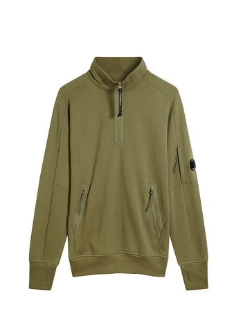 Diagonal Fleece Quarter Zip Lens Sweatshirt in Burnt Olive