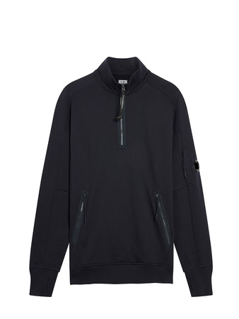 Diagonal Fleece Quarter Zip Lens Sweatshirt in Total Eclipse