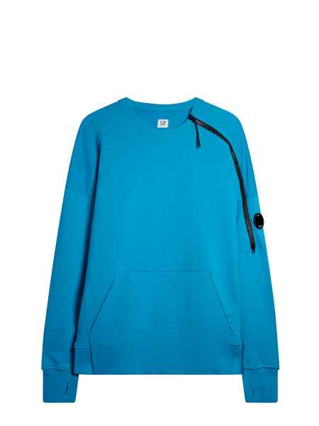 Crew Neck Zip Sweatshirt in Hawaiian Ocean