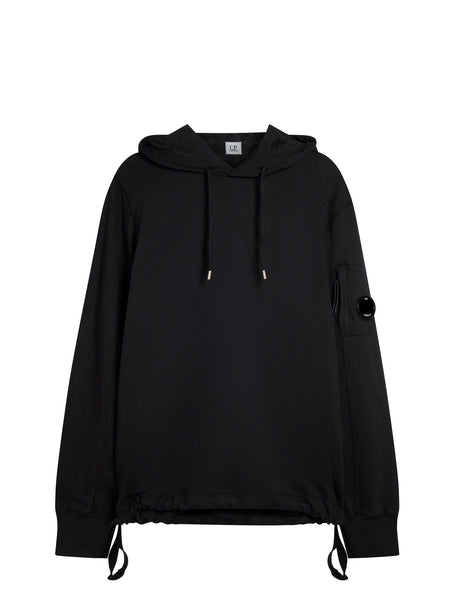 Garment Dyed Light Fleece Hoody in Caviar Black
