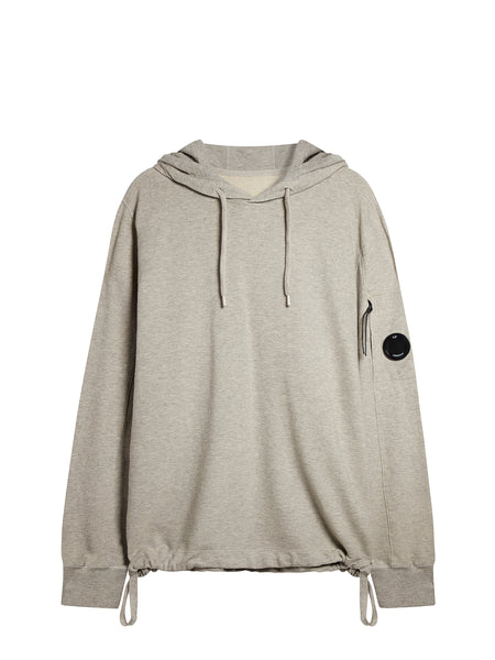 Garment Dyed Light Fleece Hoody in Grey Melange