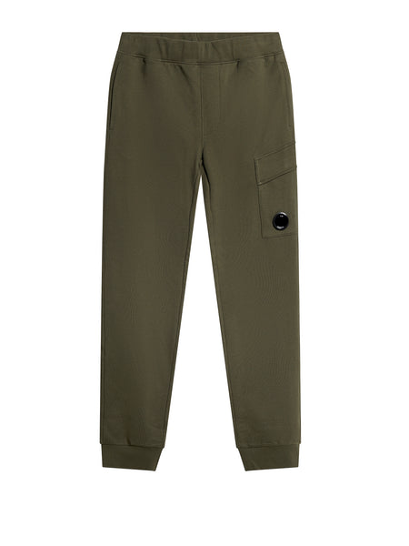 Light Fleece Cargo Sweat Pants in Dark Olive