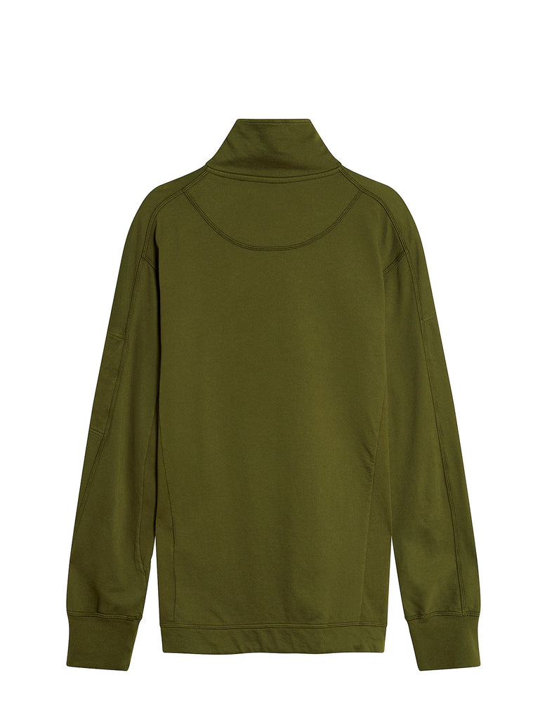 Garment Dyed Light Fleece Sleeve Logo Sweatshirt in Ivy Green