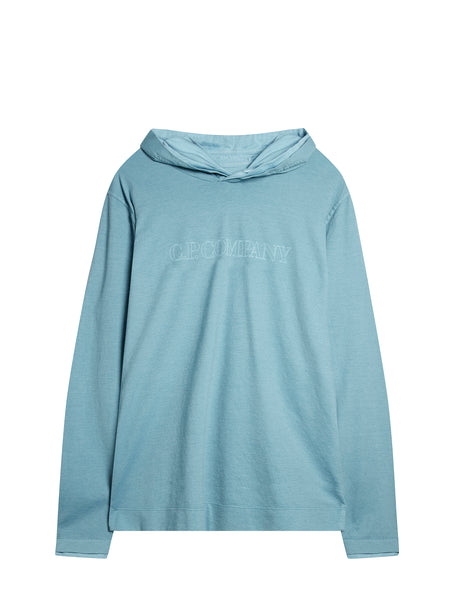Garment Dyed Vanisè Jersey Hoody in North Sea Blue