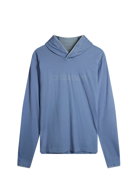 Cotton Vanisè Hooded Logo Sweatshirt in Dazzling Blue
