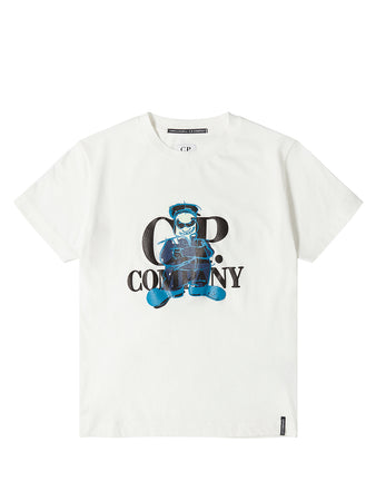 Jersey 30/1 Comic And Cars Logo T-Shirt in Gauze White