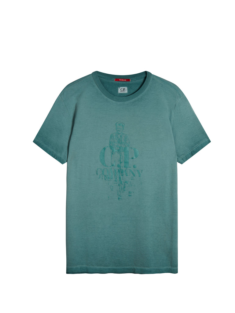 Sailor Print Makò Cotton T-Shirt in North Sea Blue