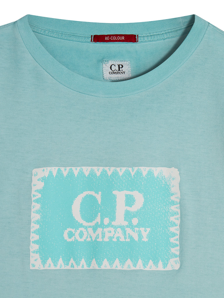 Garment Dyed Printed Label T-Shirt in Blue Radiance