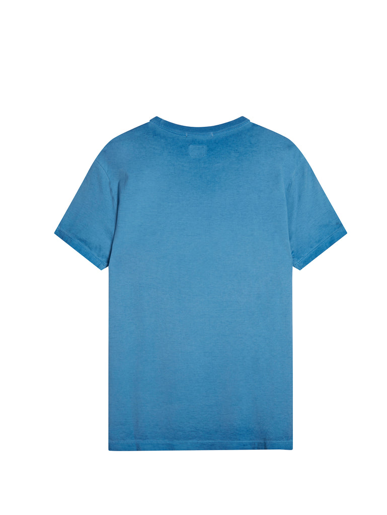 Garment Dyed Printed Label T-Shirt in Dazzling Blue