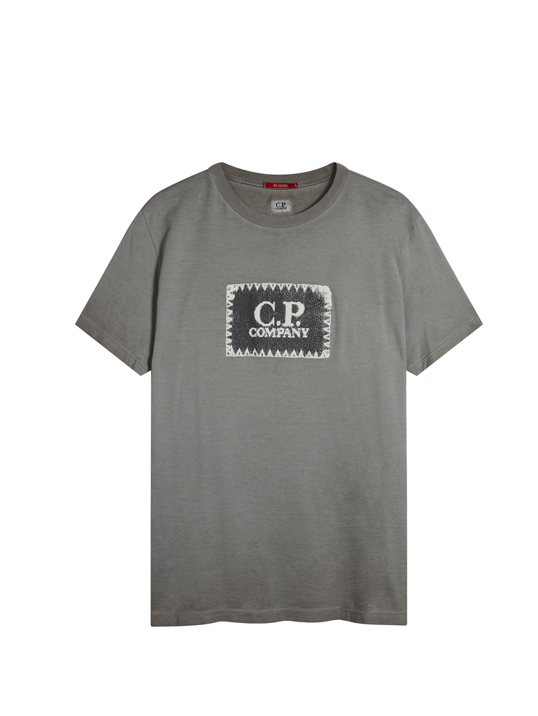 Garment Dyed Printed Label T-Shirt in Fog Grey
