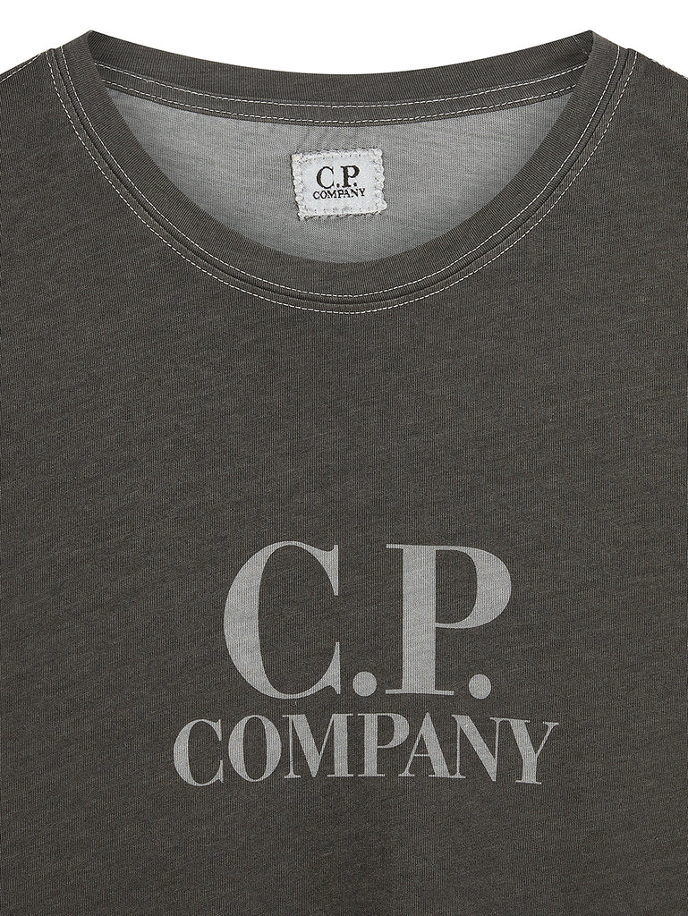 Coated Jersey Chest Logo Crew T-Shirt in Vapor Blue
