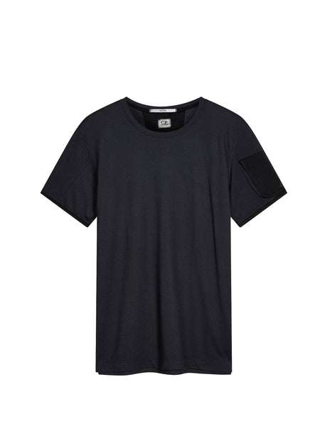 Garment Dyed Tacting Pique T-Shirt in Caviar Black