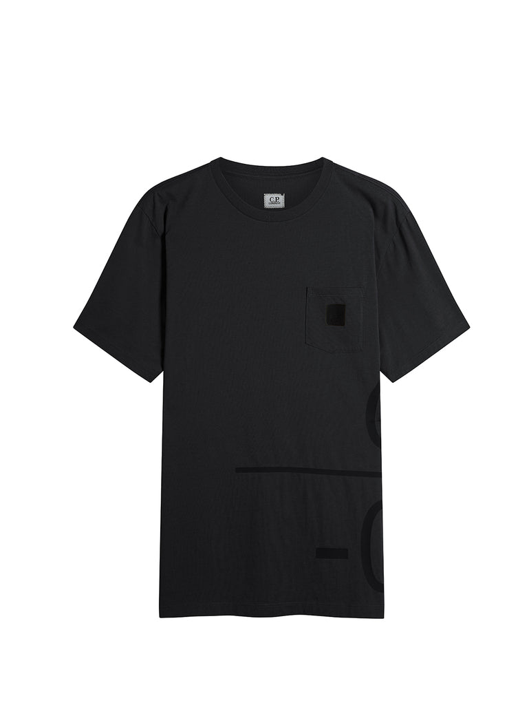 Jersey 30/1 Wrap Graphic T-Shirt in Black