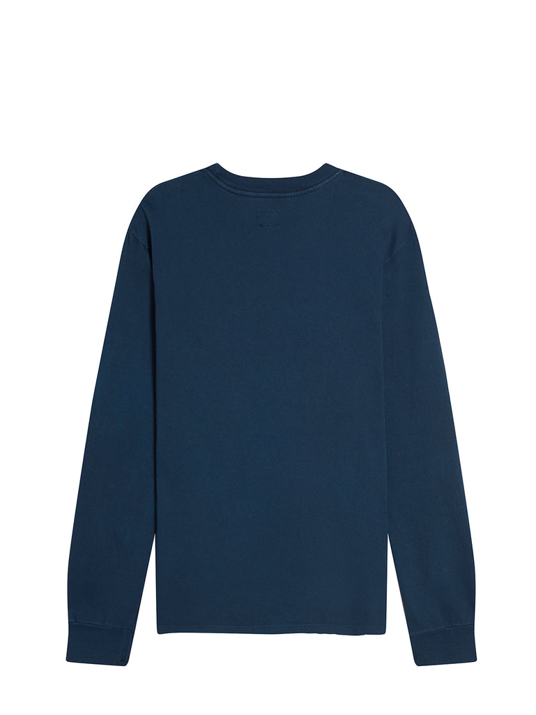 P.Ri.S.M. Garment Dyed Long Sleeve T-Shirt in Blue