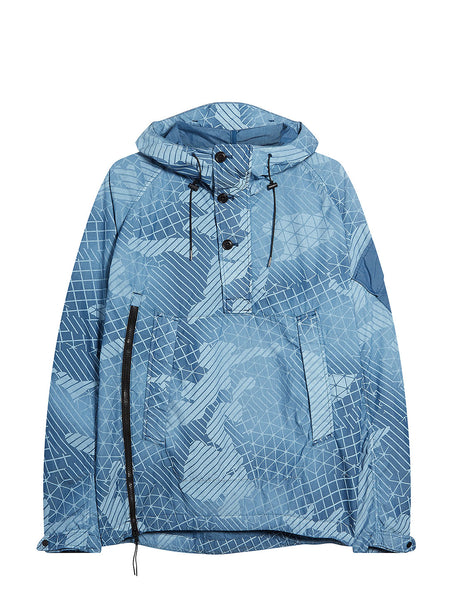 50 Fili Camo Pull Over Hooded Jacket in Moroccan Blue