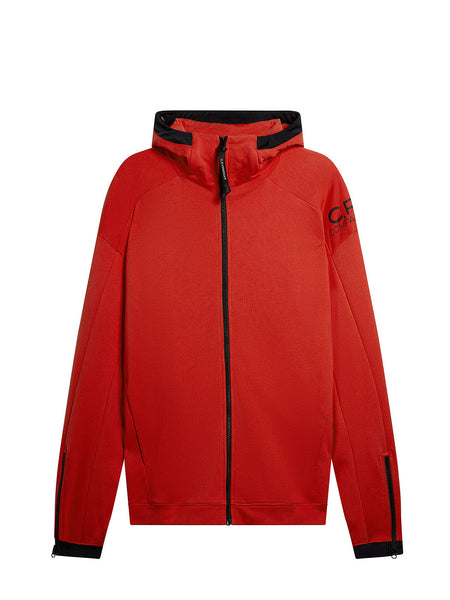 Diagonal Fleece Goggle Zip Hoodie in Poinciana