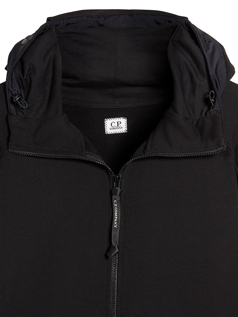 Diagonal Fleece Goggle Zip Hoodie in Black