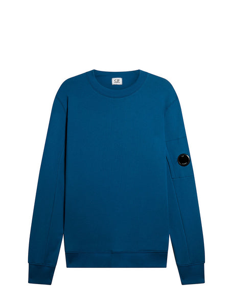 Diagonal Fleece Lens Crew Sweatshirt in Moroccan Blue