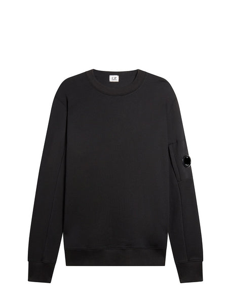 Diagonal Fleece Lens Crew Sweatshirt in Black