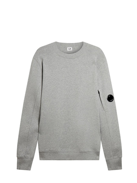 Diagonal Fleece Lens Crew Sweatshirt in Grey Melange