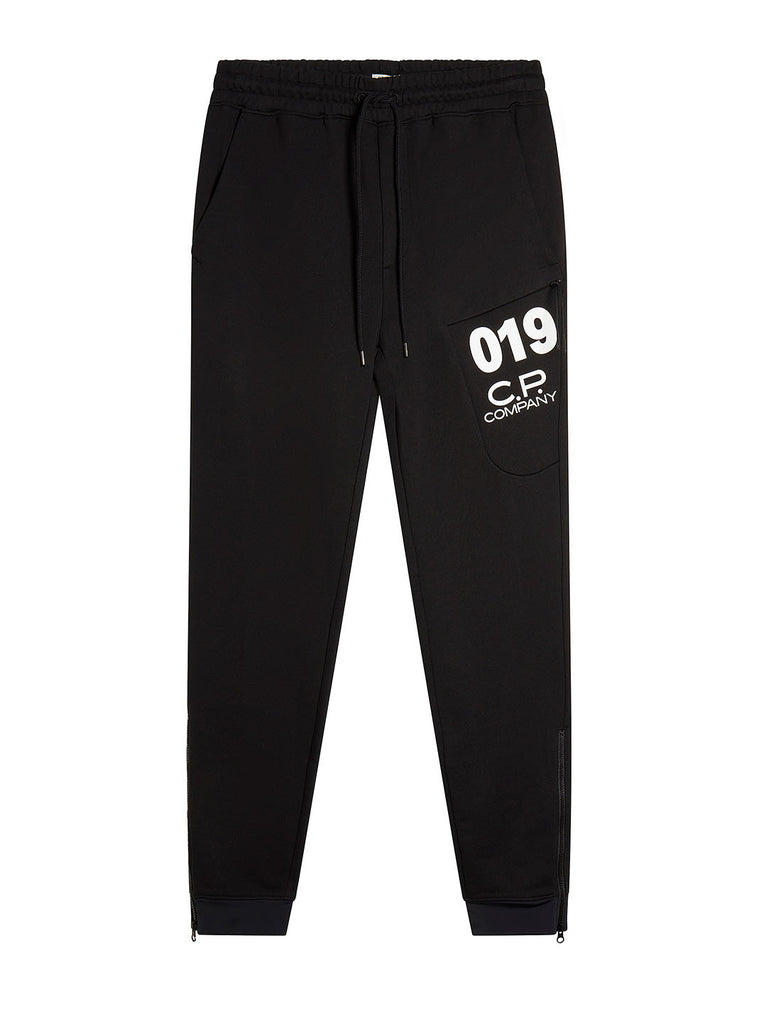 Diagonal Fleece Sweatpants in Black