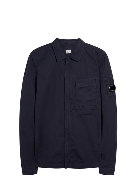 Gabardine Zip Overshirt in Total Eclipse