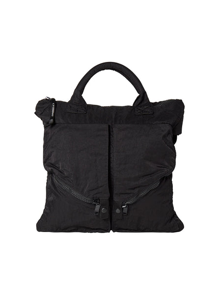 Garment Dyed Nylon Sateen Tote Bag in Black