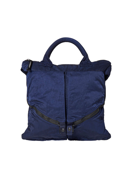 Garment Dyed Nylon Sateen Tote Bag in Estate Blue