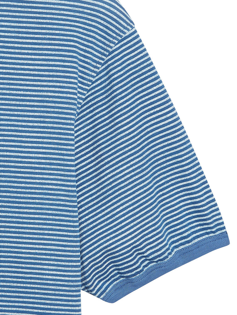 Jersey 24/1 Stripe T-Shirt in Moroccan Blue