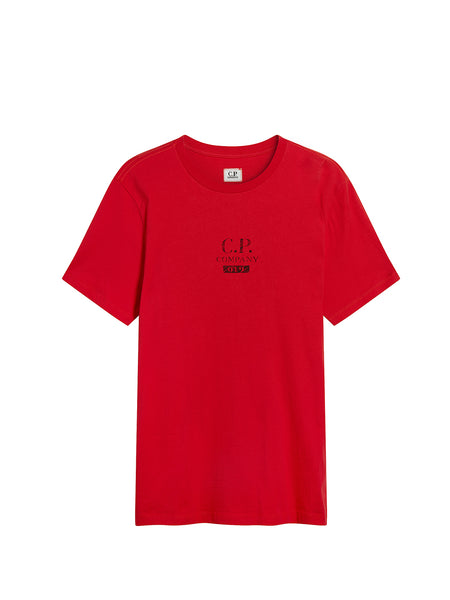 Jersey 30/1 Button Print Crew T-Shirt in Poinciana