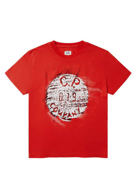 Undersixteen Jersey 30/1 Button Print Crew T-Shirt in Poinciana