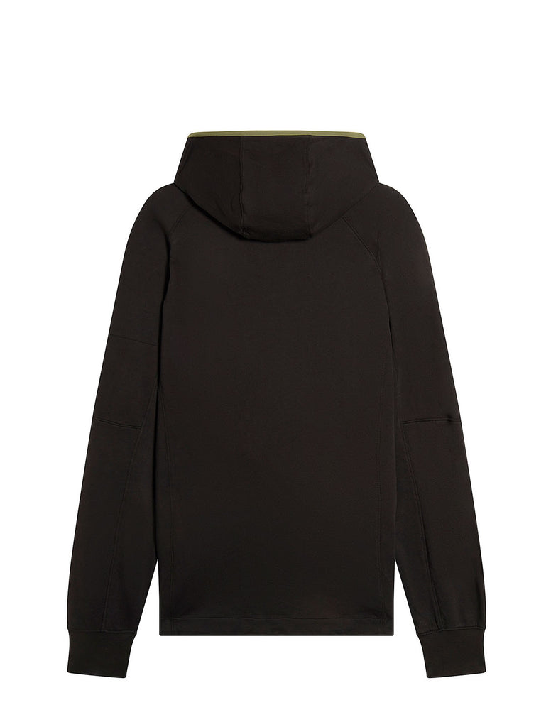 Light Fleece Asymmetric Zip Lens Hoodie in Black