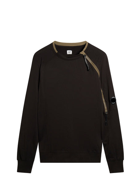 Light Fleece Zip Sleeve Lens Sweatshirt in Black