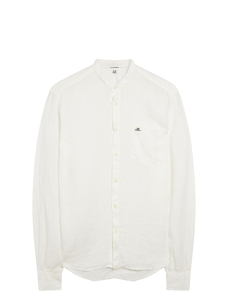 Linen Grandad Shirt in Gauze White