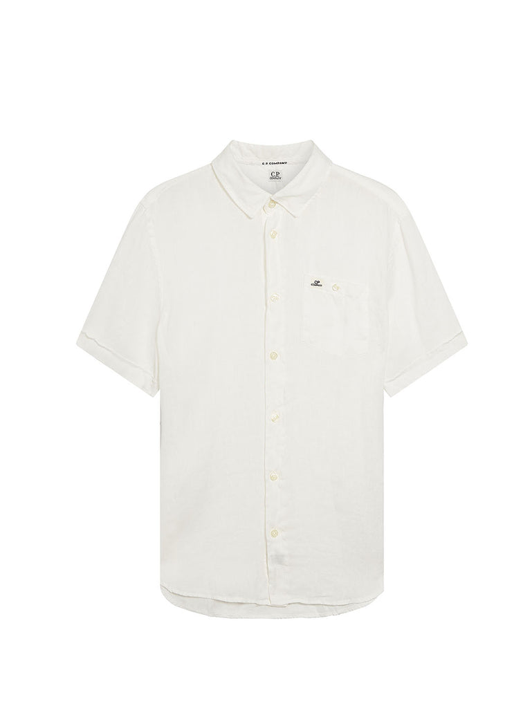 Linen Short Sleeve Shirt in Gauze White