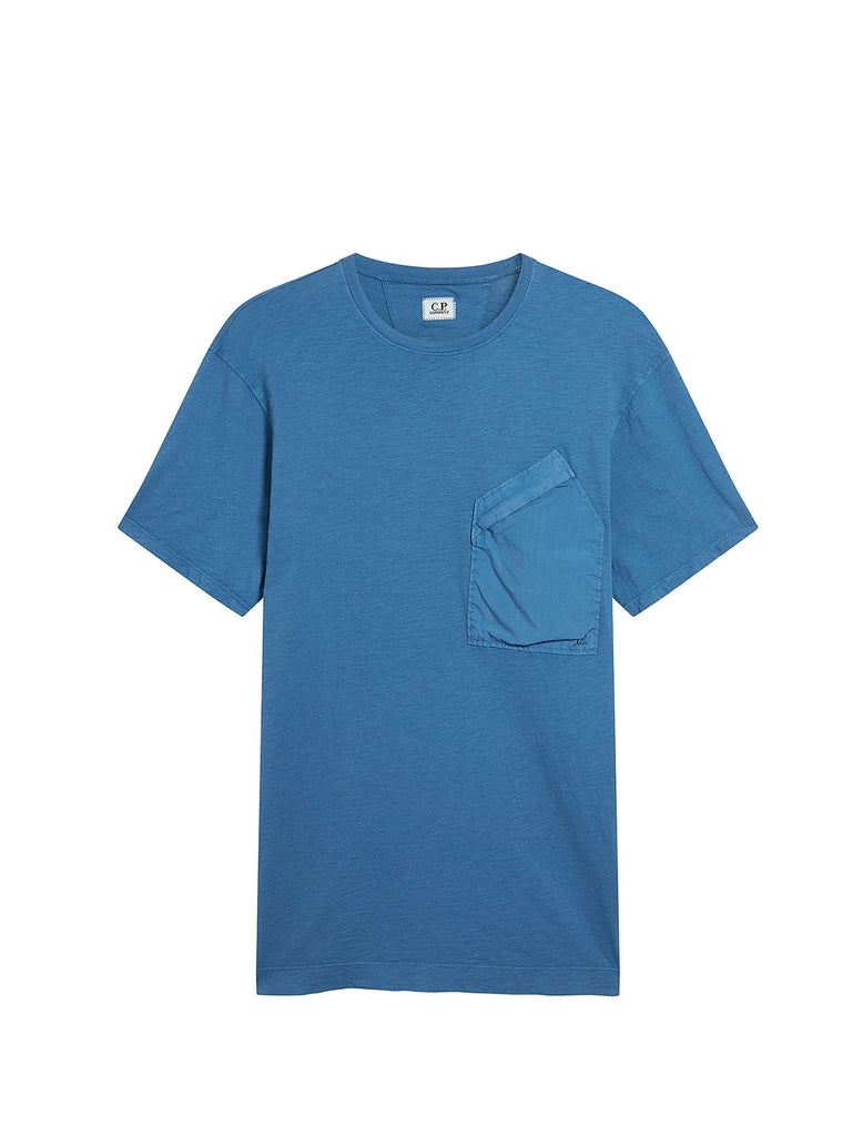 Malfilé Jersey Contrast Pocket T-Shirt in Moroccan Blue