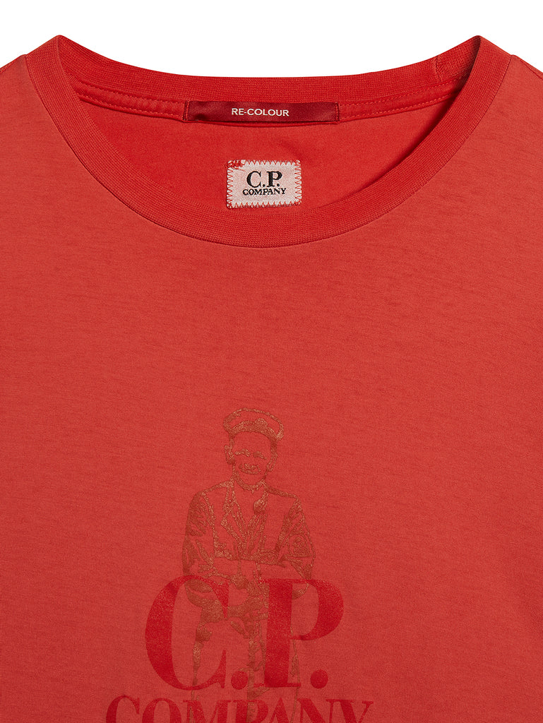 Re-Colour Makò Jersey Sailor Logo Crew T-Shirt in Poinciana