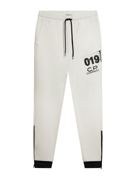 Diagonal Fleece Sweatpants in White