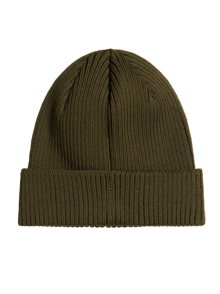 Cotton Ribbed Beanie in Khaki