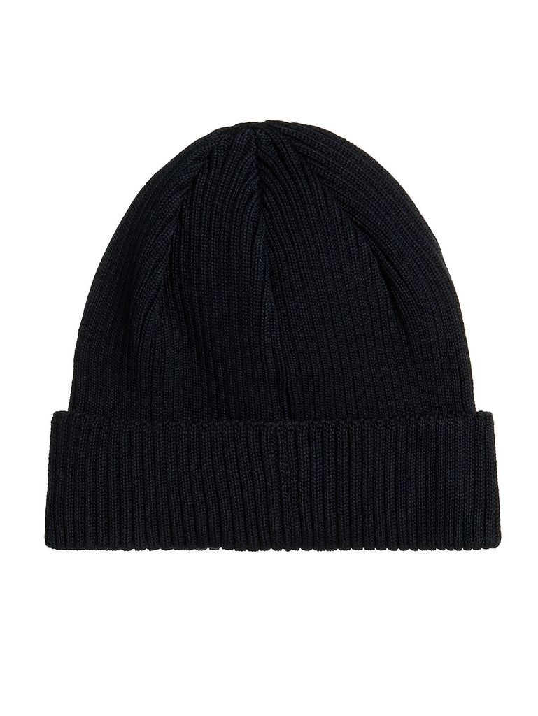 Cotton Ribbed Beanie in Total Eclipse