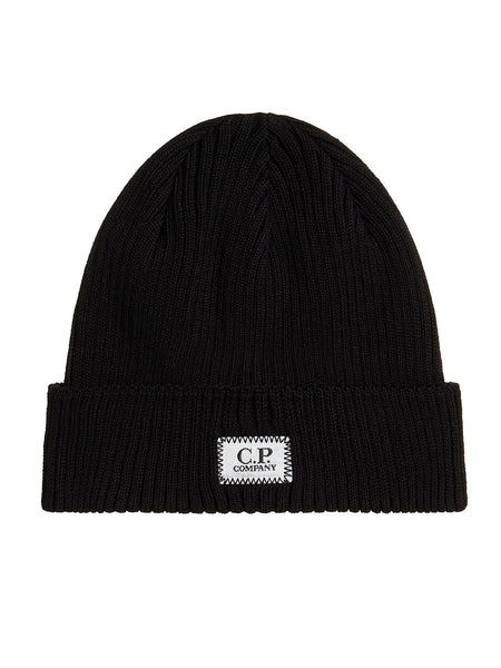Cotton Ribbed Beanie in Black