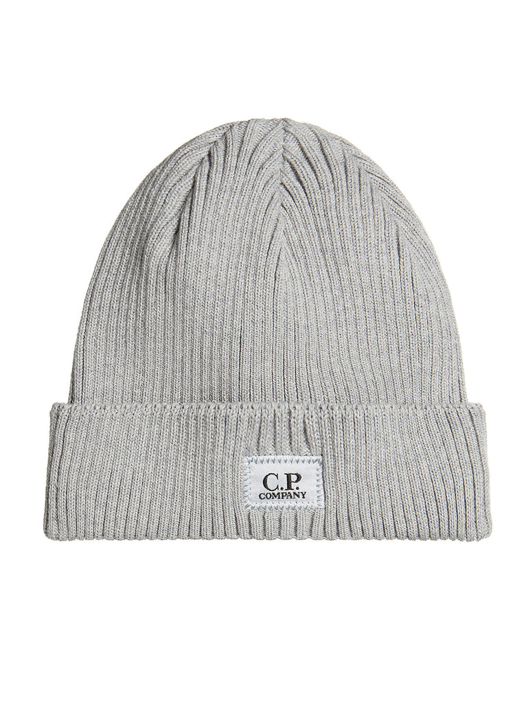 Cotton Ribbed Beanie in Grey Melange