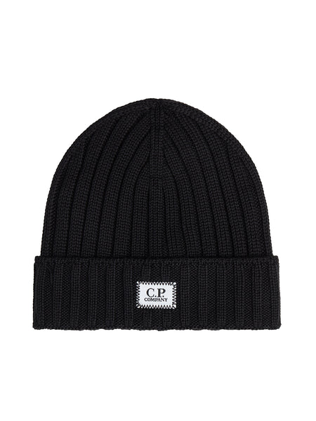 EXTRA FINE MERINO WOOL BEANIE in Black